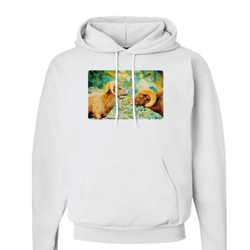Two Bighorn Rams Watercolor Hoodie Sweatshirt