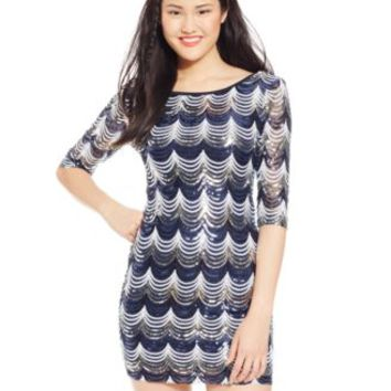 Crystal Doll Juniors' Sequin Three-Quarter-Sleeve Dress | macys.com