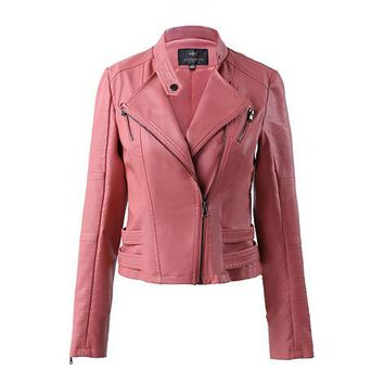 Lapel Stand Collar Zipper Slim Crop Jacket