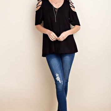 Brushed french terry cold shoulder boutique top with criss cross shoulder