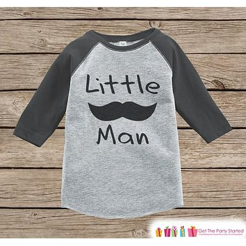 Boys Novelty Little Man Outfit - Baby Boys Onepiece or T-shirt - Black Mustache Grey Raglan Shirt - Kids Raglan Tee - Infant, Toddler Outfit