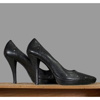Vintage 90s Black Leather Heels / 1990s Via Spiga Studded Leather Stiletto High Heel Shoes / Womens Size 8 - 8.5 with 4 Inch Heels