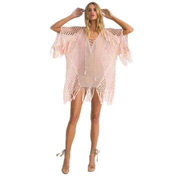 Sexy Hollow Handmade Crochet V Neck Lace Up Bikini Cover-Ups Women Blouses Shirts Beach Cover Up Loose Tassel Ladies Tops Blusas