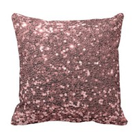 Modern Rose Gold Faux Glitter Shine Print Throw Pillow