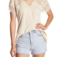 Johnny Was | Embroidered Silk Contrast V-Neck Tee | HauteLook