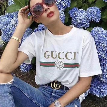 Gucci Print Women's Cotton Top Short Sleeve T-shirt