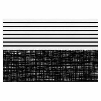 "Trebam ""Platno (with Black Stripes)"" Black White Decorative Door Mat"