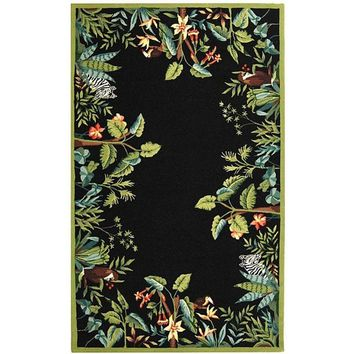 Safavieh Hand-hooked Safari Black/ Green Wool Rug (5'3 x 8'3)