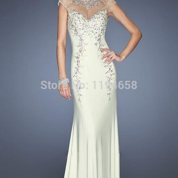 2014 Pink Halter Crystal Mermaid Prom Dresses Cap Sleeves Special Occassion Chiffon Evening Gowns Party Sexy Open Back