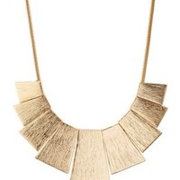 Gold Brushed Metal Bib Necklace by Charlotte Russe