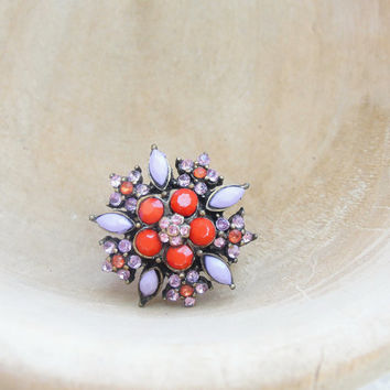 Red Flower, Snowflake Ring - Brass and Rhinestones