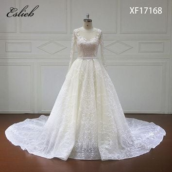 Eslieb Vestido De Noiva Long Sleeve Princess Wedding Dresses 2018 Illusion Appliques Beaded Lace Ball Gown Bridal Gown Plus Size