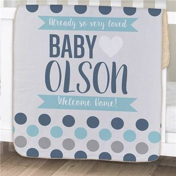 Personalized Polka Dots Baby Sherpa Blanket ~ Blue