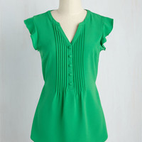 Expert In Your Zeal Top in Grass | Mod Retro Vintage Short Sleeve Shirts | ModCloth.com