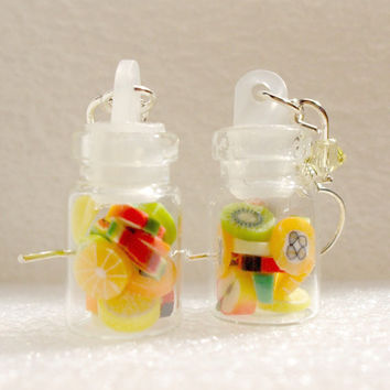 Jar of Fruit Earrings. Polymer Clay