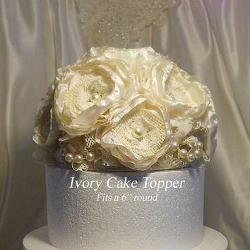 Ivory Cake Topper, handmade of ivory silk peony fabric flowers, burlap, lace and pearls.
