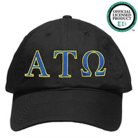 Alpha Tau Omega (ATO) Black Nike Golf Hat | Blue & Yellow Letters