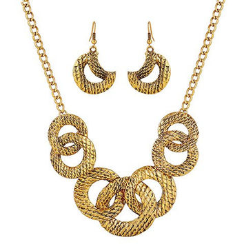 Golden Round Moon Cut Out Necklace and Earrings