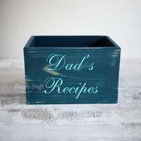 Navy Blue wooden recipe box bridal shower box personalized recipe box wooden recipe box large recipe box recipe organizer cards box 5x7 wood
