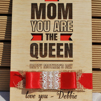personalized gift wood card mother's day, ribbon, lace, burlap, date, favourite phrase,