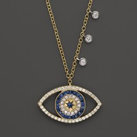 Meira T 14K Yellow Gold Open Evil Eye Necklace, 16""
