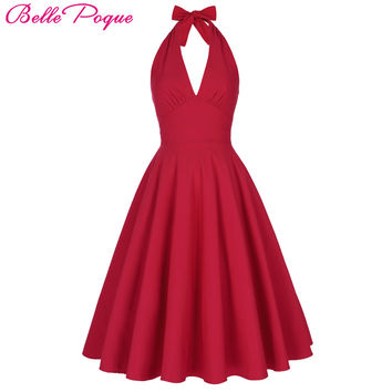 Belle Poque Women Summer Sexy Red Retro Vintage Halter V-Neck Party Picnic Dress Casual Plus Size Clothing marilyn monroe Dress