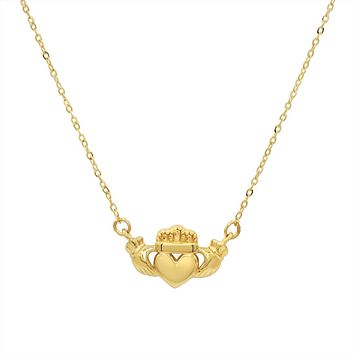 Amanda Rose 14k Yellow Gold Claddagh Necklace on a 17 inch Chain