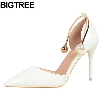 BIGTREE women thin high heel pumps faux pearl bead metal d'orsay two-piece stiletto shoes multi color white silver nude pink