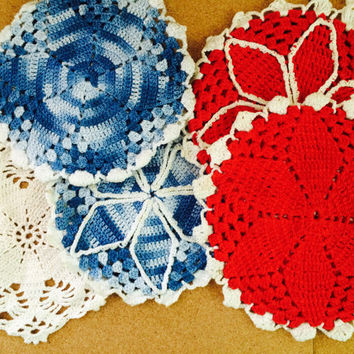 Vintage Crocheted Pot Holders, Hot Pads, 2 Sets, Red and White, Variegated Blue and White, Hang Loops, Flower Petal Pattern, Bonus Doily