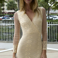 Lace In Point Long Sleeve Dress