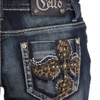 Cello Leopard Leather Pocket Bootcut Jeans - C10168