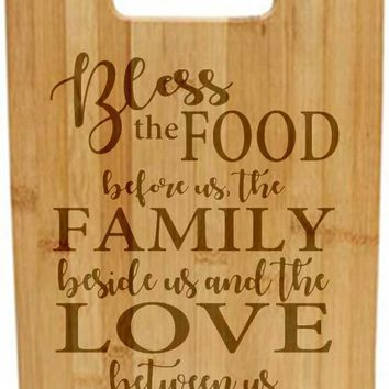 Laser Engraved Cutting Board - Bless this food before us