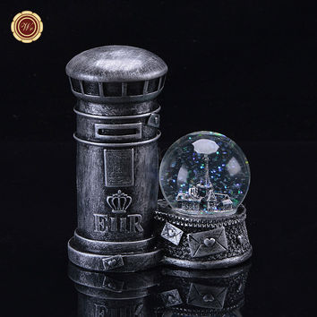 WR Decorative Led Light Up Water Snow Globe Vintage Mailbox Post Box Models Resin Crafts 13X7X15 Cm Home Office Ornaments