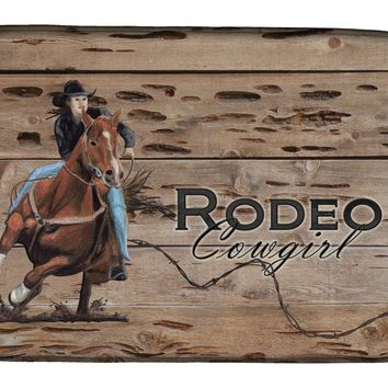 Rodeo Cowgirl Barrel Racer Dish Drying Mat SB3055DDM