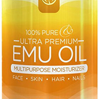 InstaNatural 100% Pure Emu Oil - For Hair Growth, Skin, Face, Stretch Marks, Scars & More - Great for After You Shampoo! - The Best Natural Cream for Eczema, Muscle & Joint Pain & Nail Beauty - 4 OZ
