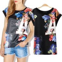 Floral A Print Short Sleeve Top