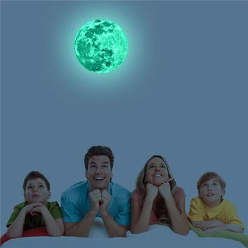 12 CM Full Moon Night Light Fluorescent Moon Wall Stickers Glow In The Dark