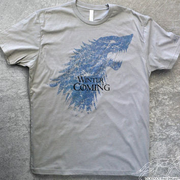WINTER IS COMING Shirt Game of Thrones - Men and Woman's Unisex fitted Silver Grey Ringspun Cotton Tee. House Stark