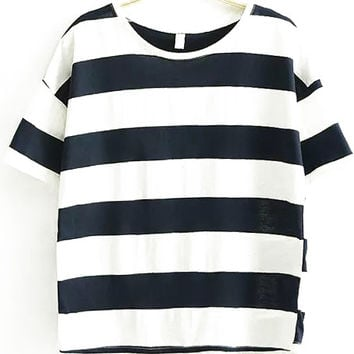 Blue and White Stripe Short Sleeve Top