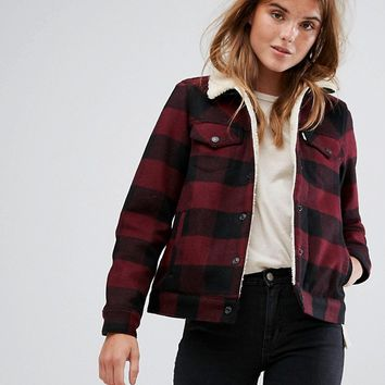 Levi's Checked Coach Jacket with Borg Collar and Lining at asos.com