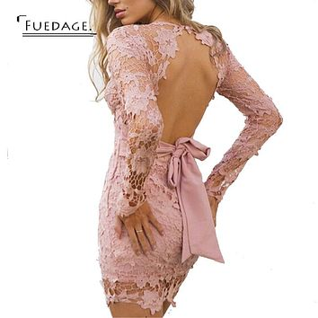 2017 Vintage Long Sleeve V-neck Bandage Dress Black Pink Red Simple Lace Hollow Sexy Halter Party Dresses   Women Dress