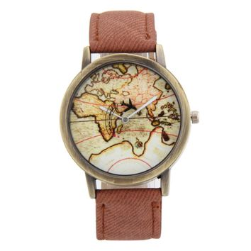 Fashion Brand World Map Watches Casual Women Quartz Watch Wristwatch Bracelet Relogio Feminino Leather Strap clock reloj mujer