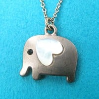 Elephant Animal Pendant Necklace in Dark Silver with Heart Shaped Ears