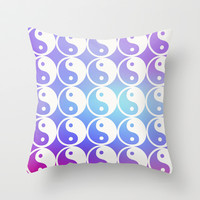 Trippy Balance Yin Yang Throw Pillow by Courtney Burns