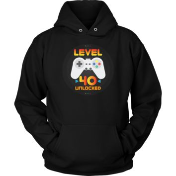 40th Birthday Gift - Level 40 Unlocked Funny Gamer Hoodie