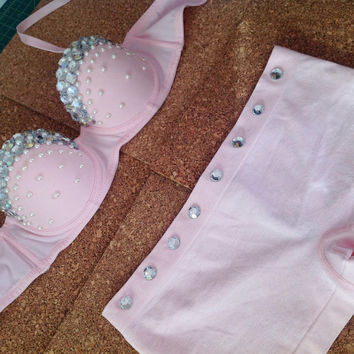 Pink rave outfit bra and shorts set