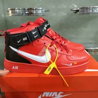 """""""Nike Air Force"""" Double Hook Unisex Sport Casual Fashion High Help Plate Shoes Sneakers"""