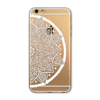 Transparent flower mobile phone case for iphone 5 5s SE 6 6s 6 plus 6s plus + Nice gift box 072701