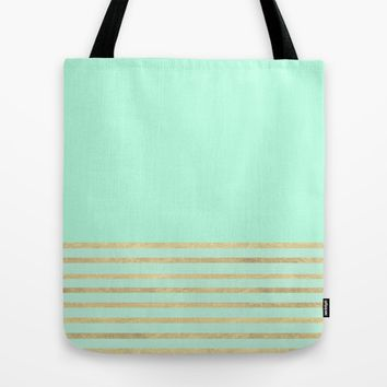 Mint and Gold stripes Tote Bag by Xiari | Society6