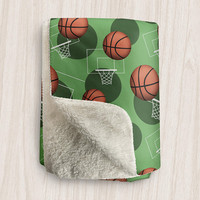 Green Basketball Sherpa Fleece Blanket - Basketball Themed Pattern, Green Basketball Blanket, Basketball Throw - 2 sizes - Made to Order